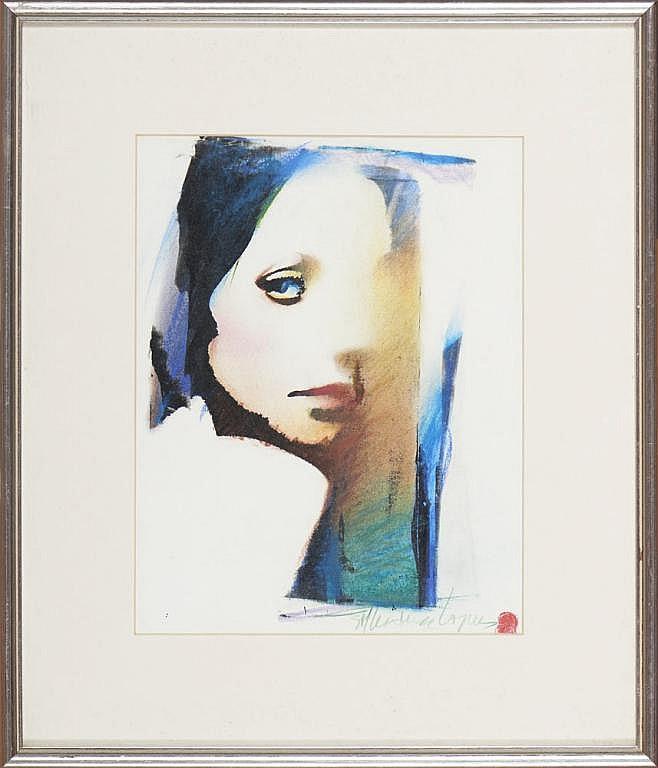 GIL TEIXEIRA LOPES, mista sobre papel, 28 x 22 cm.