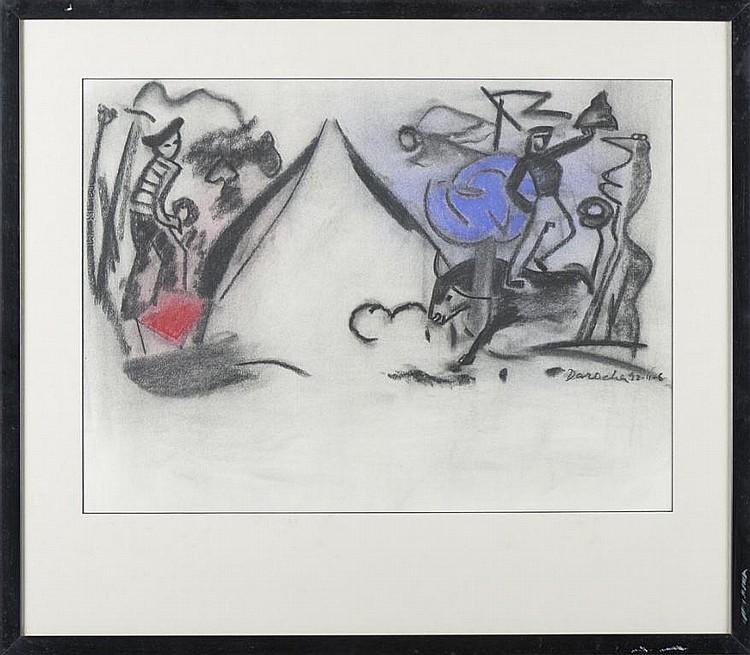 DAROCHA, mista sobre papel, 47 x 64 cm.