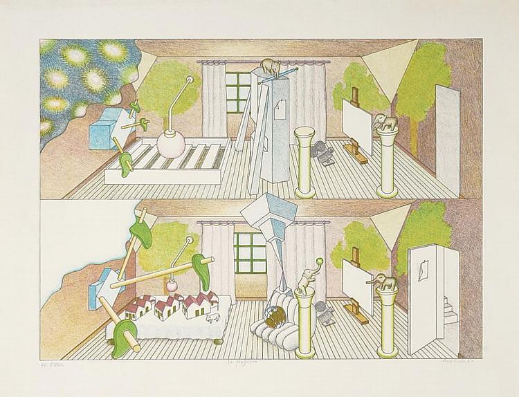 RENÉ BERTHOLO, Serigrafia s/papel, 40x55 cm