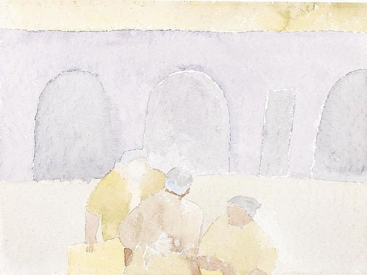 JÚLIO RESENDE, Aguarela s/papel, 28,5 x 38,5 cm.