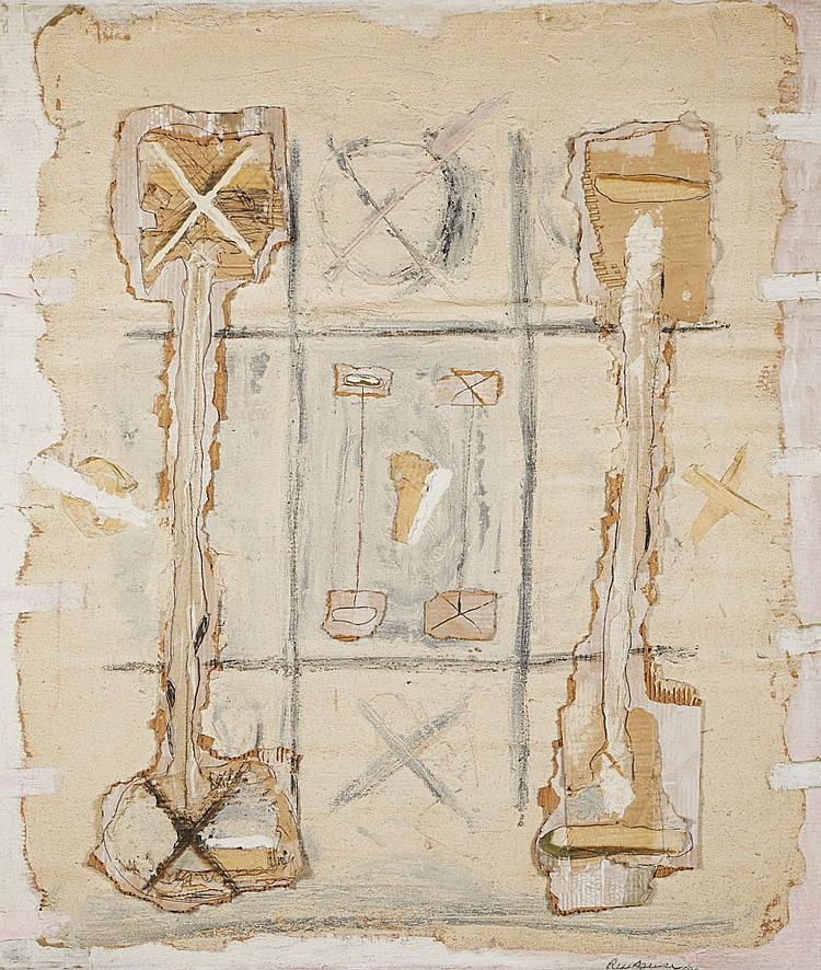 RUI AGUIAR, mista c/colagens, 127 x 118 cm.