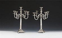 Par de candelabros 5 lumes em prata 833%,P.6136g