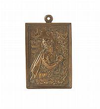 Placa em bronze representando São Pedro