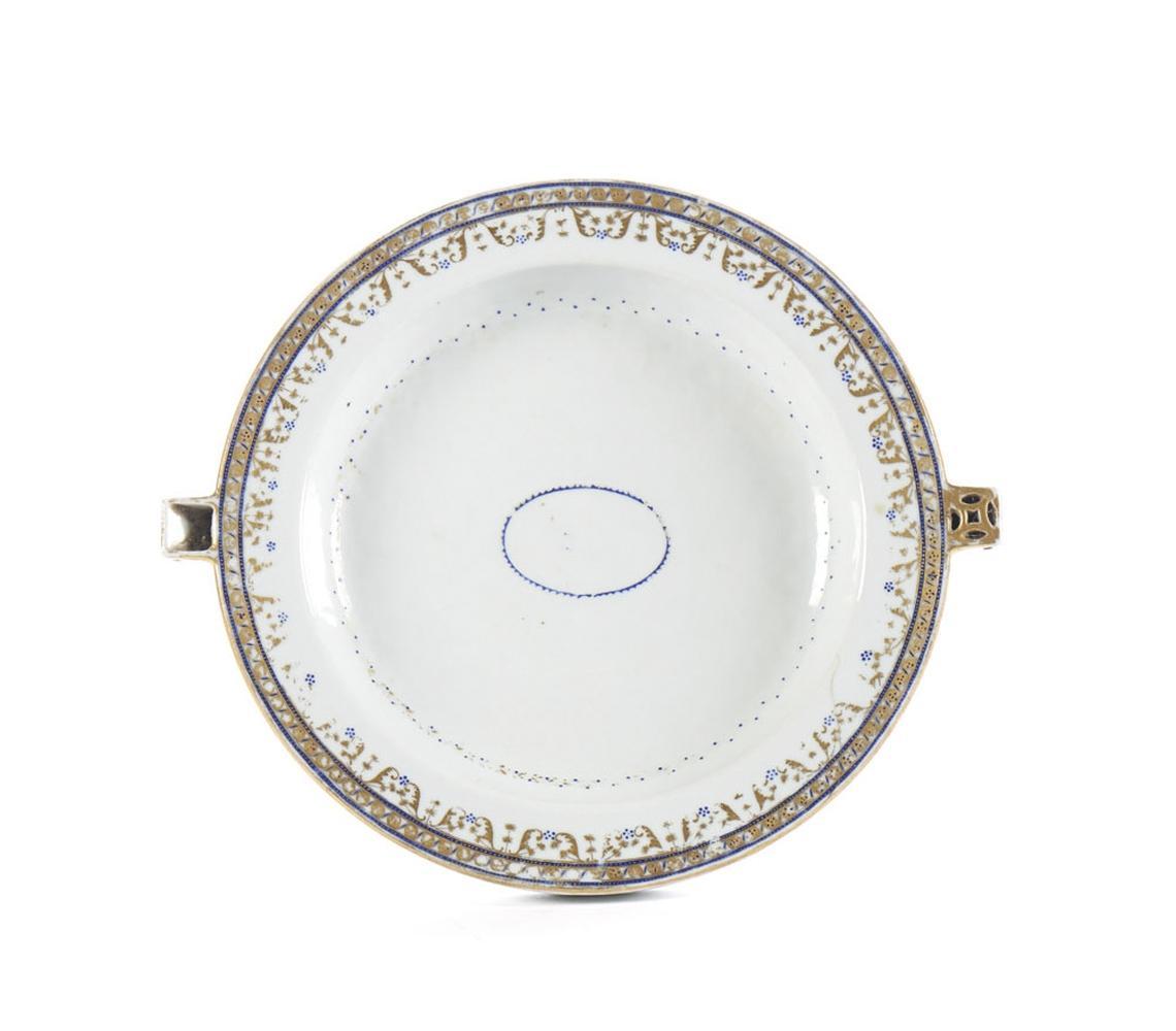 """Prato """"rechaud"""" em porcelana chinesa, CI"""