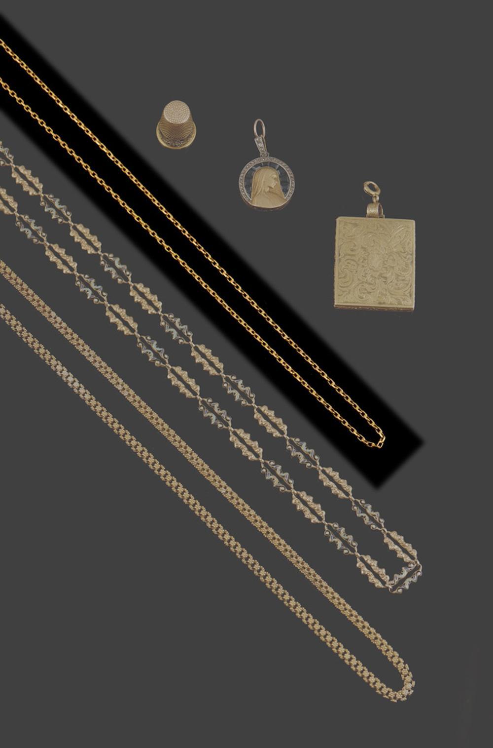 Fio em ouro de 750 ml, malha de cadeado, P.10,4g
