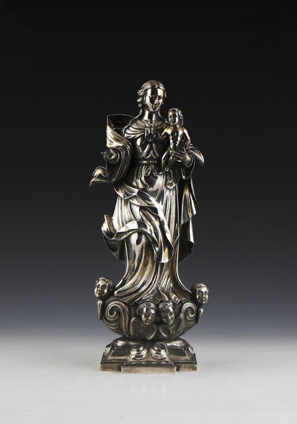 Nossa Senhora c/ Menino Jesus, esc. prata, P.1486g