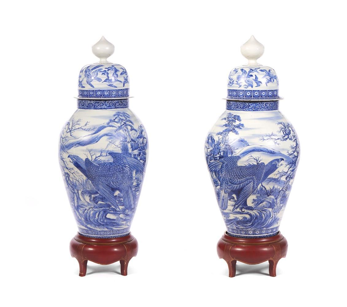 Par grandes potes c/ tampa em porcelana japonesa