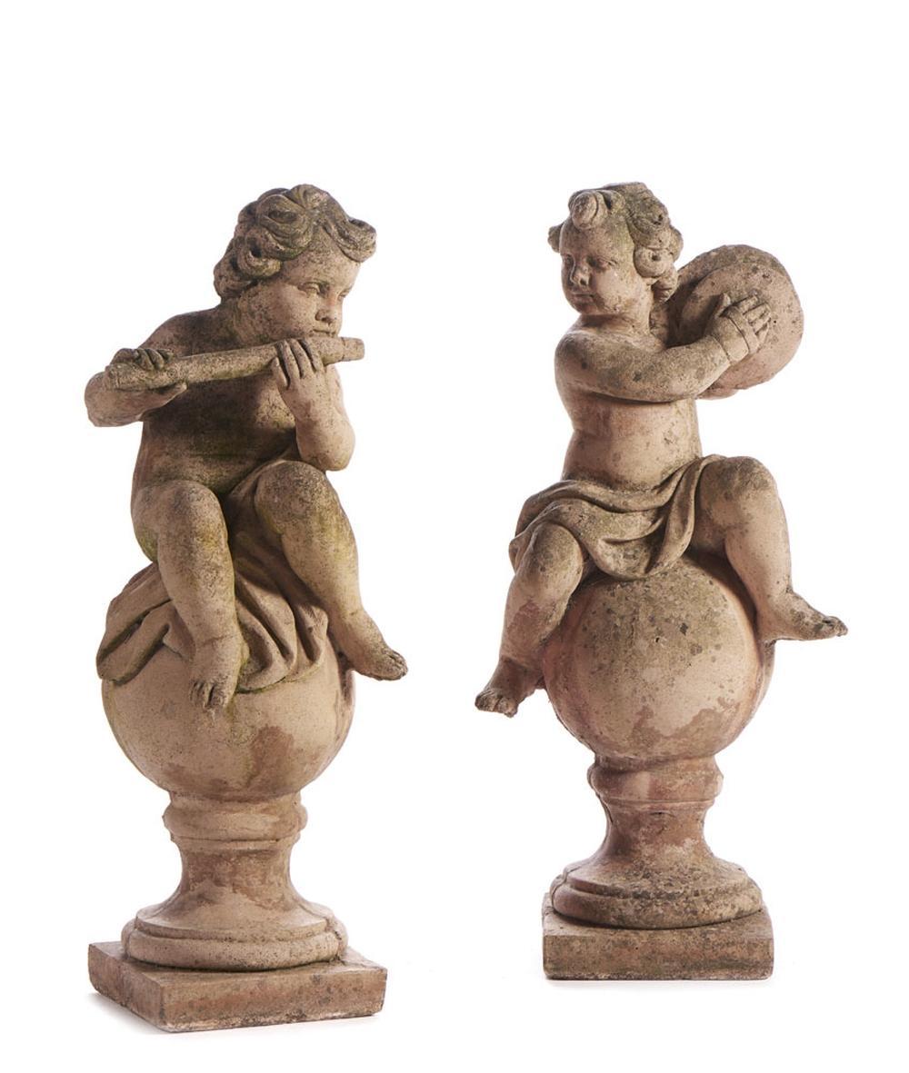 """""""Putti"""" músicos,par de esculturas em terracota (2)"""