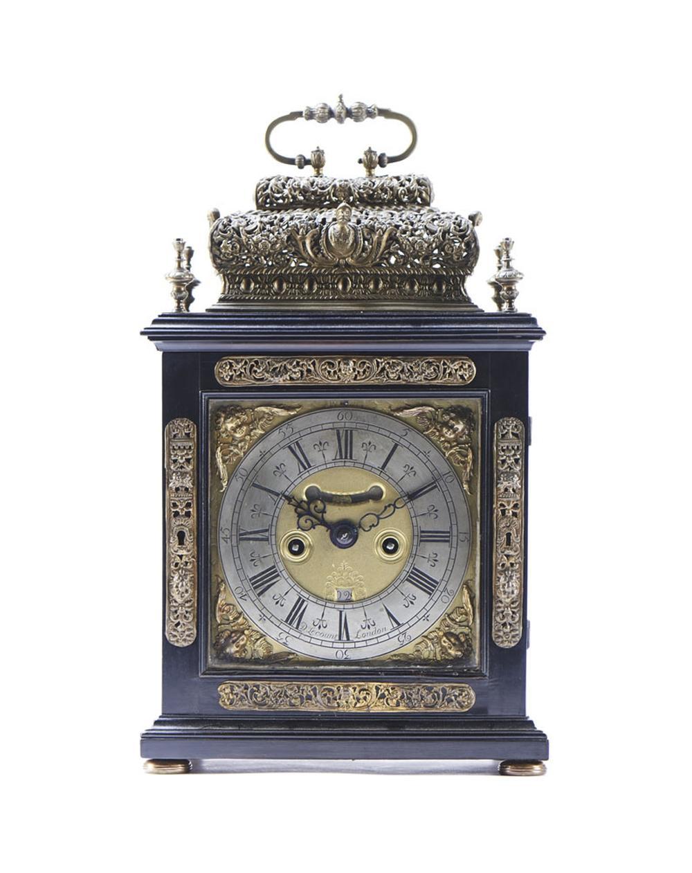 Magnífico relógio de mesa inglês, do séc. XVII