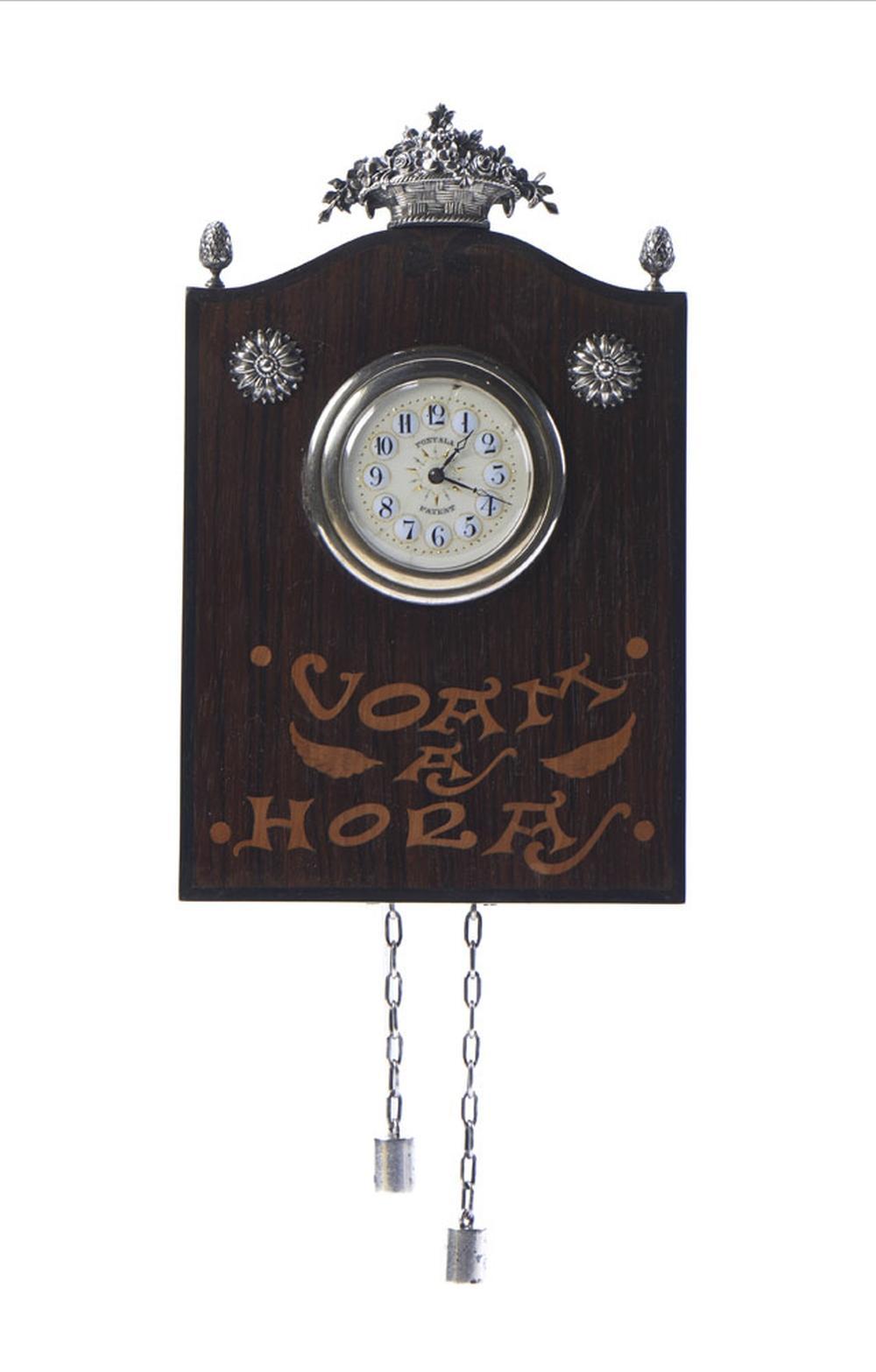 Relógio de suspender em pau-santo e prata