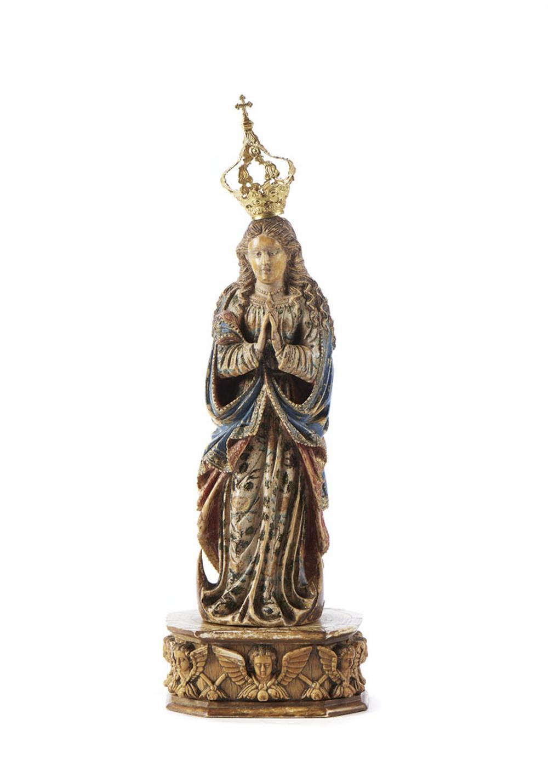 Nª Senhora, Esc. marfim e ouro, P: 20,1 g.