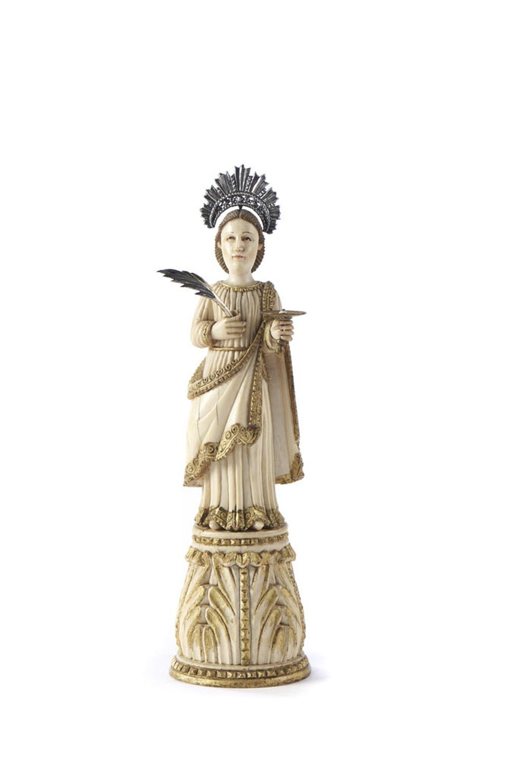 Sta. Luzia, Esc. marfim e prata, XVII/XVIII,P. 4g.