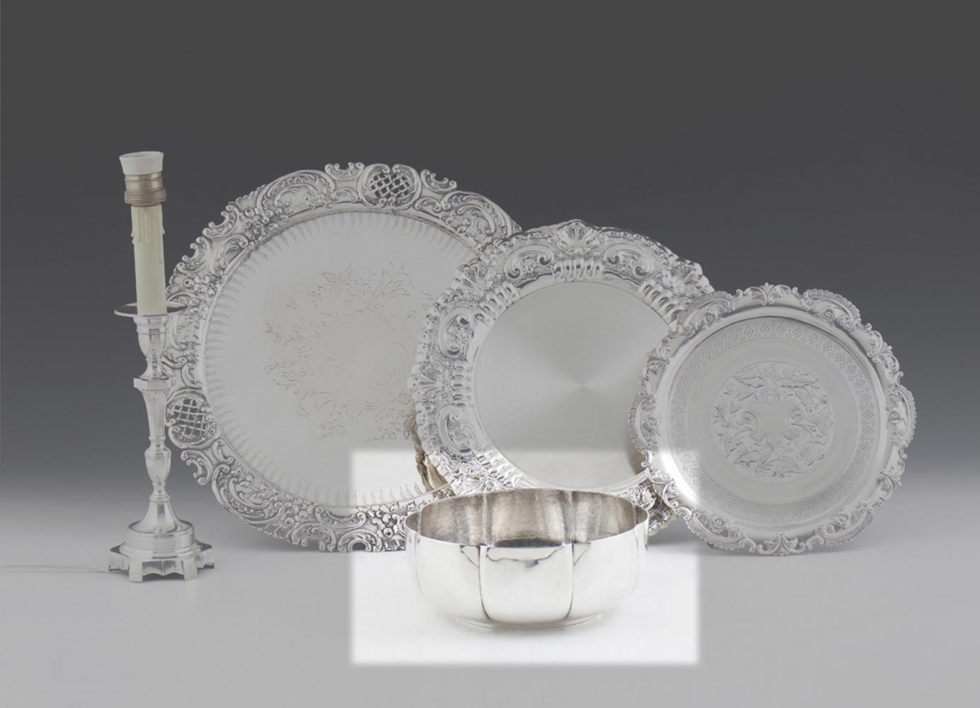 Taça em prata portuguesa, 833%, P: 698 g.