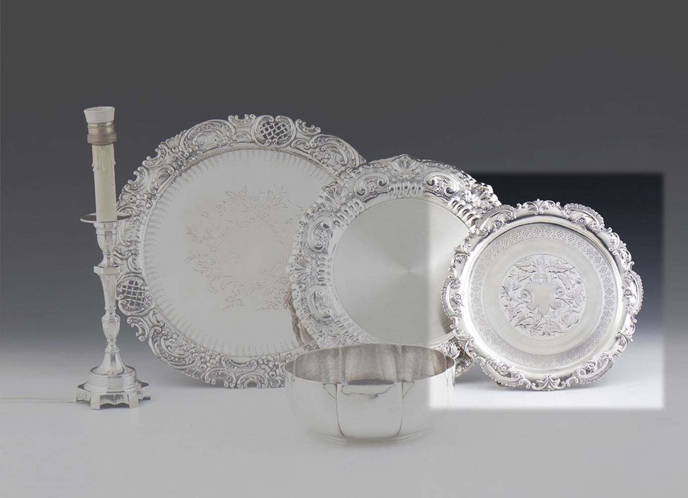 Pequena salva em prata, séc. XIX, P.: 370 g.
