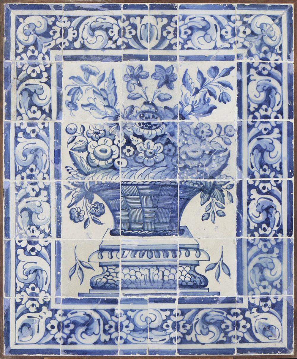Painel de 30 azulejos com albarrada de flores