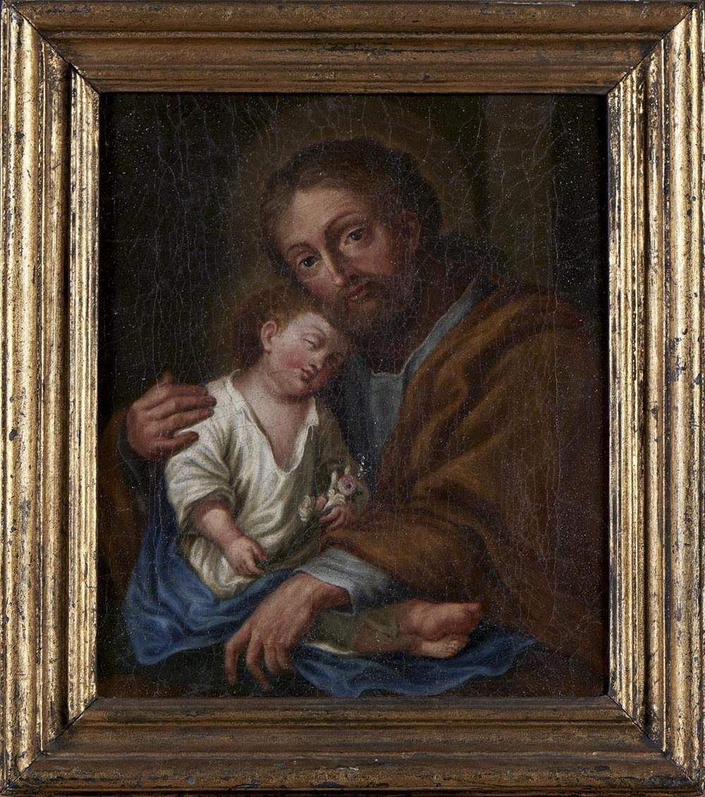 S. José c/ Menino Jesus, Óleo s/ tela, 29,5 x 25,5