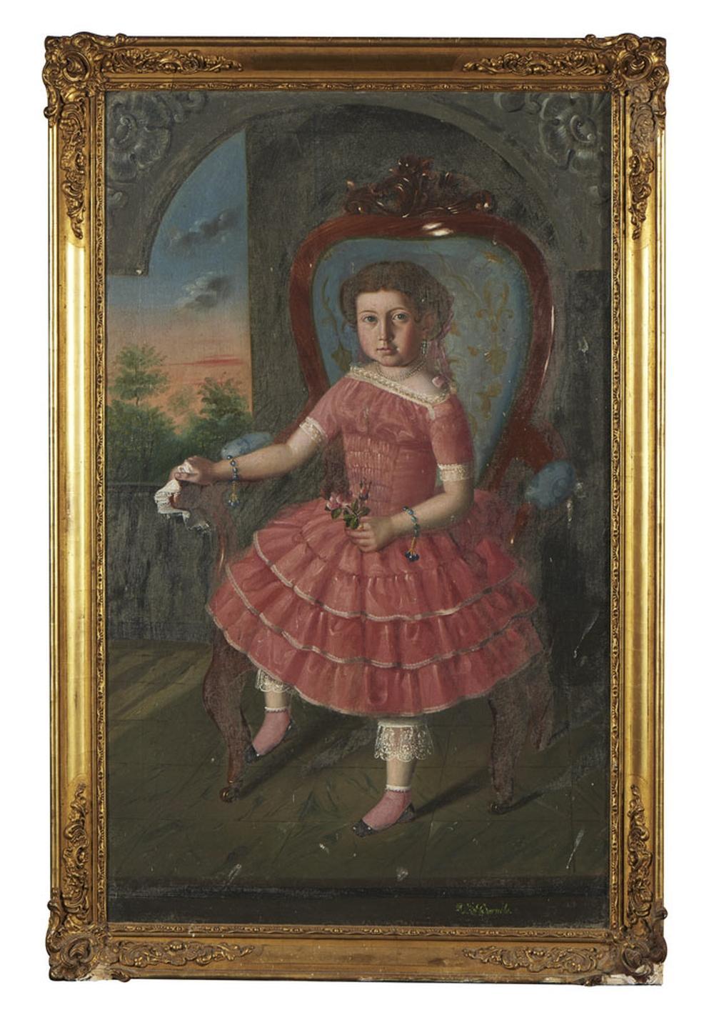 Retrato de menina, Óleo sobre tela, 108,5 x 66 cm.