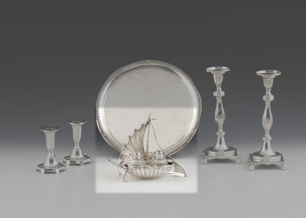 Tinteiro em forma de junco prata alemã,800%;P.148g