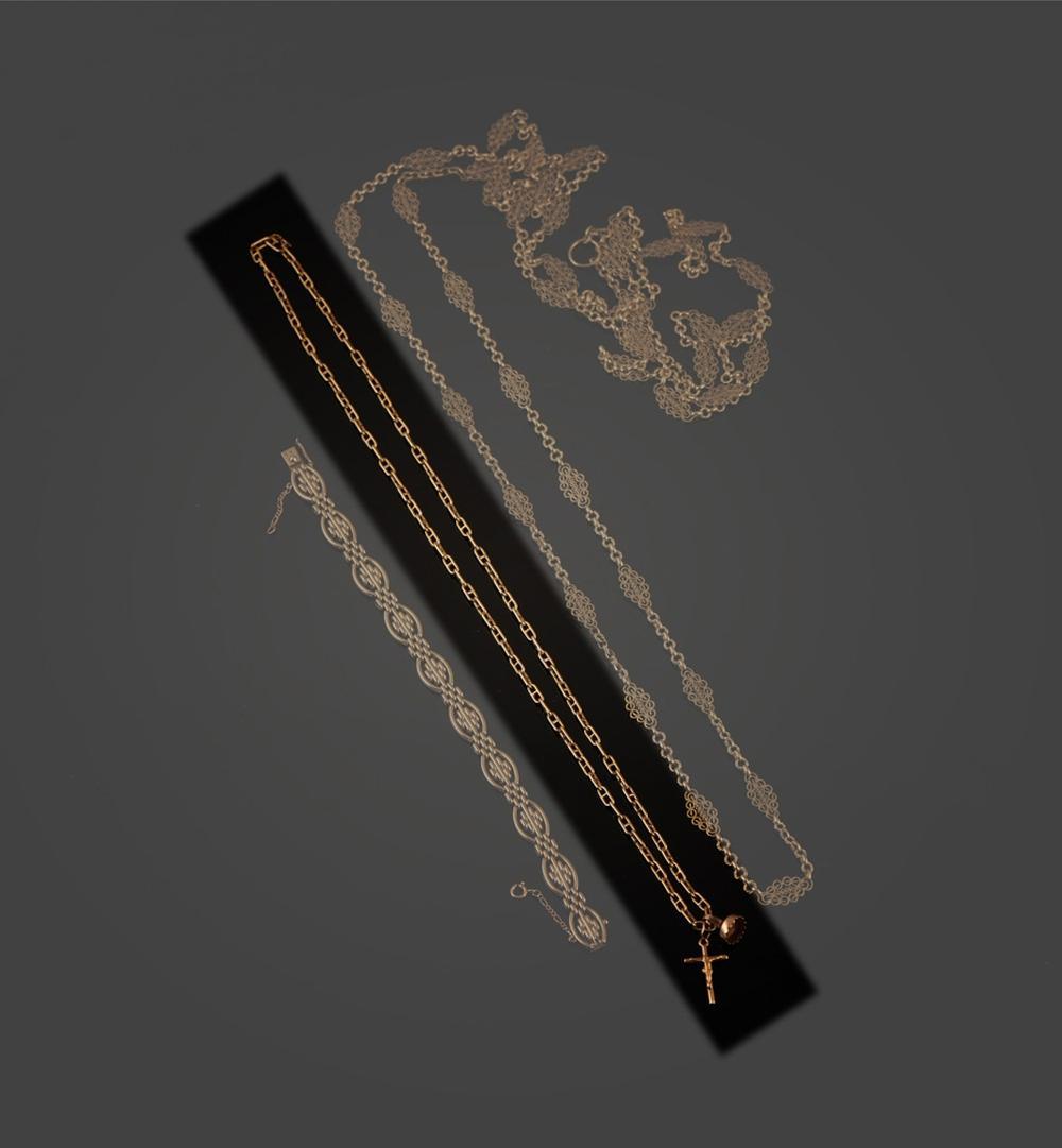 Fio e pendentes em ouro de 800 ml, P.30,3g
