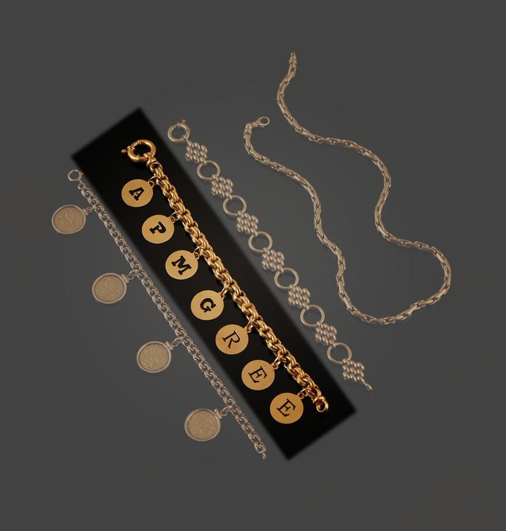 Pulseira e medalhas em ouro de 800 ml, P. 42,3 g