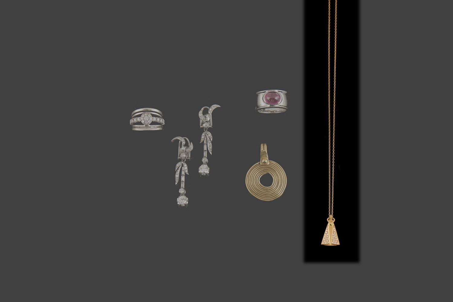Fio e pendente Leitão&Irmão em ouro 800%, P.3,5g