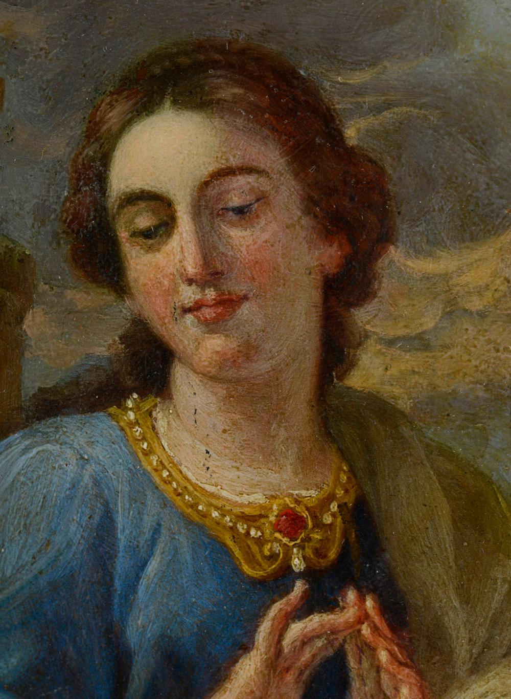 Stª Bárbara, séc. XVIII, Óleo s/cobre, 14,7x11,9cm