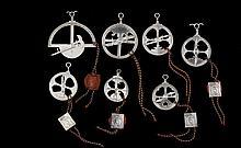 7 astrolábios prata Leitão & Irmão, 925% P. 1164 g