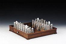 Jogo de xadrez c/peças em prata 833%, séc.XX (33)