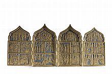 Ícone ortodoxo de quatro folhas, bronze esmaltado