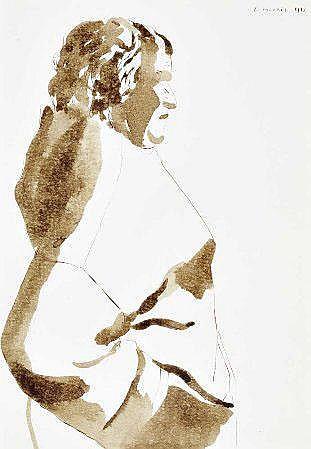Graça Morais, sépia s/papel, 25 x 18 cm. GRAÇA