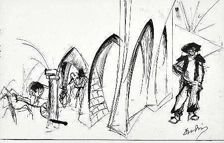 Dórdio, Fonte de Évora, tintas/papel,21 x 32,5 cm.