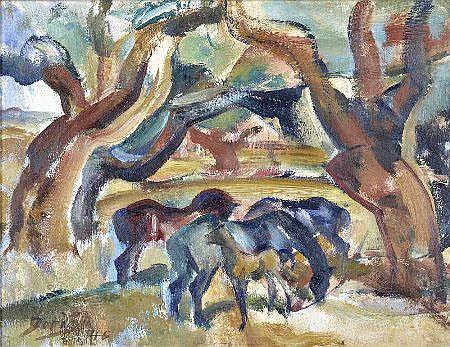 Dórdio Gomes, Paisagem c/cavalos, 27,4x35,2cm.