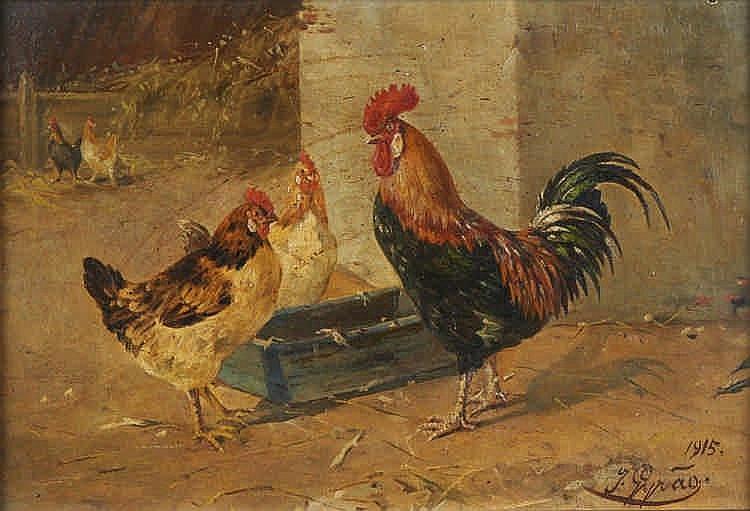 Girão, galinhas, óleo sobre tela, 20 x 29 cm.