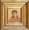 At. PINELO, Retrato, óleo s/madeira, 12,5x11,5 cm., José Pinelo Llull, Click for value