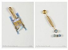BENES, 2 mistas com colagens s/papel, 35 x 25 cm.