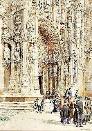 Roque Gameiro, Porta, aguarela s/papel, 36,5x26cm