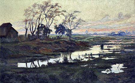 Frederico Ayres, Paisagem, óleo s/tela,Dim.: 125 x