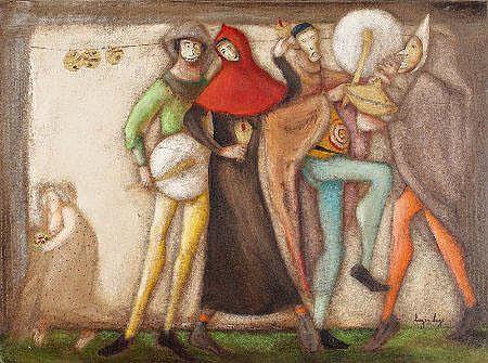 Luzia Lage, Pantomimas, óleo s/tela, 54 x 73 cm.