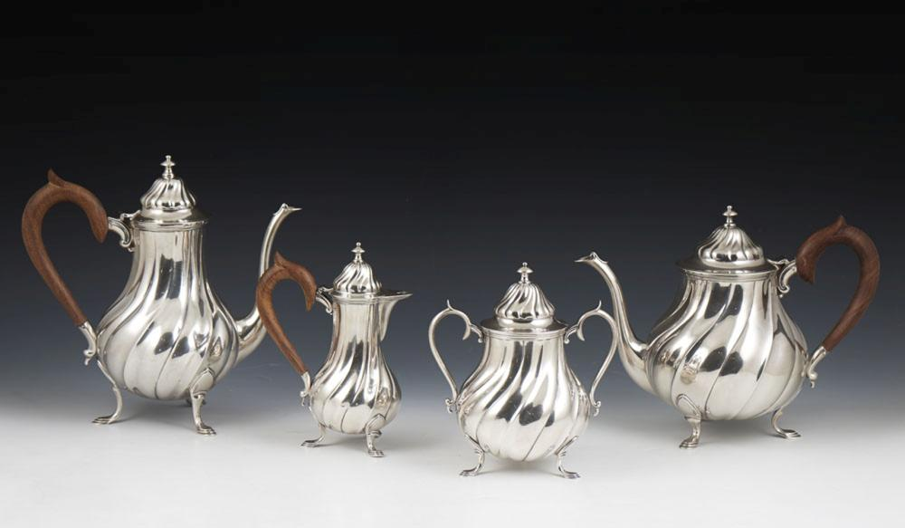 Serviço de chá e café em prata 833%, P.2620g.