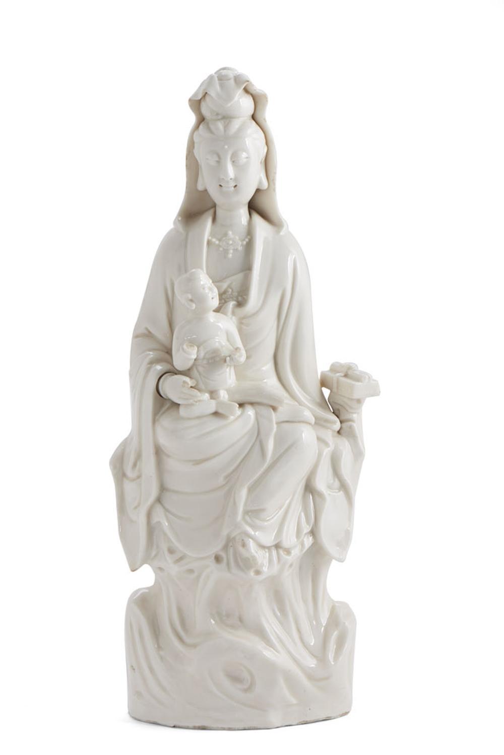Guanine, grupo escultórico em porcelana chinesa