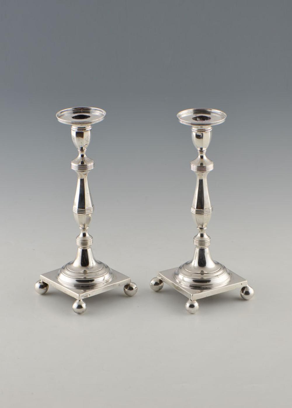 Par de castiçais em prata séc. XIX, P. 782g
