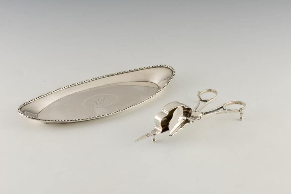 Tesoura de morrões e bandeja em prata P.314g (2)