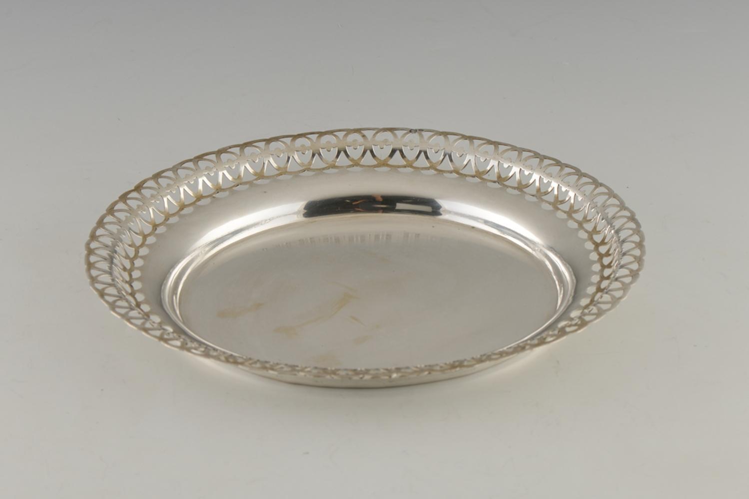 Salva de bordo de gradinha em prata 833%, P.160g.