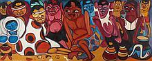 MATSINHE, Le tribu, Óleo sobre tela, 50 x 120 cm.