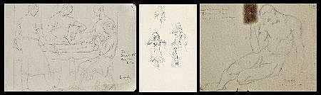 Leopoldo d'Almeida, 3 estudos a lápis sobre papel