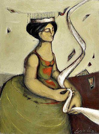 Luzia Lage, Óleo sobre tela,Dim.: 81 x 60 cm.