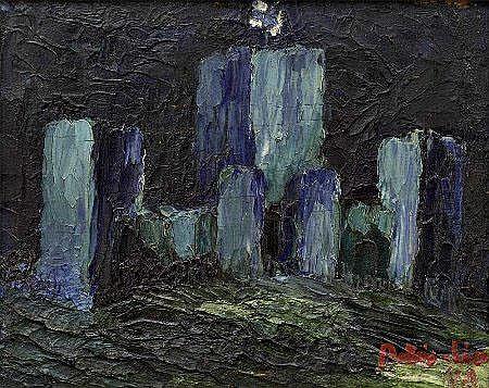 António Lino, Castelo, óleo s/madeira, 13 x 16 cm.