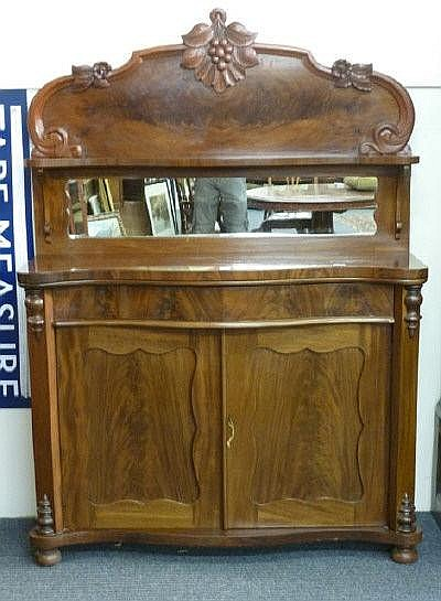 A Victorian mahogany chiffonier, the shelved