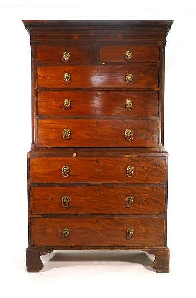 A George III mahogany and strung chest on chest,