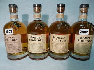 4 bottles of Monkey Shoulder 70cl Batch 27 blended